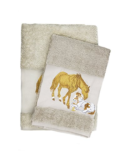 Luxury Horse Embroidered Brown Bath and Hand Towel 100% C...