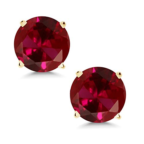 - Gem Stone King 14K Yellow Gold Red Created Ruby Stud Earrings 2.00 Ct Round 6MM