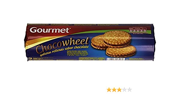 Gourmet - Chocowheel - Galletas rellenas sabor chocolate 250 gr - Pack de 5 (Total 1250 grams): Amazon.es: Alimentación y bebidas