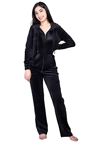 Dolcevida Women's Active Solid Velour Tracksuit Zip up Hoodie and Sweat Pant Set (Black, M) ()
