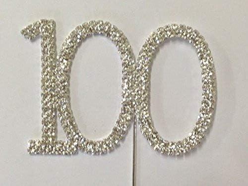 Rhinestone Number 100 Birthday 100th Anniversary Cake Cupcake Topper Flower Pick