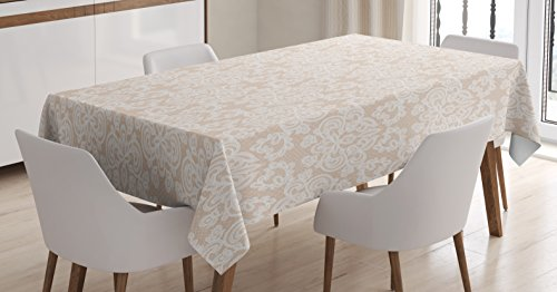 Satin White Background - Lunarable Cream Tablecloth by, Wedding Inspired Symmetrical Design White Lace Style Background Pattern Damask Vintage, Dining Room Kitchen Rectangular Table Cover, 60 W X 84 L Inches, Tan White