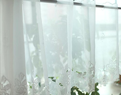 Embroidery White Rose Kitchen Curtain Coffee Dining Room Sunshine Semi Sheer Valances 18 X 60 Inches 45x150cm