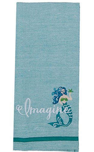 Kay Dee Designs R6398 Imagine Mermaid Embroidered Chambray Tea Towel