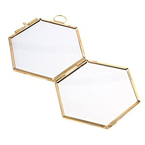 Jili Online Antique Hexagon Metal & Glass Hanging Floating Picture Photo Frame Black/Copper - copper