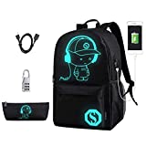 DOLIROX Luminous Schoolbag Anime School Backpack Shoulder Daypack Laptop Bag with USB Charging