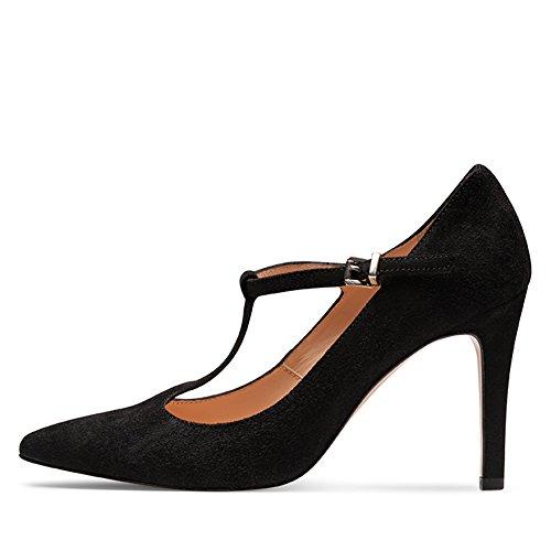 mujer de Shoes Zapatos Negro Evita para de negro Piel vestir IxOOw0T