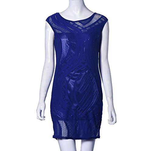 vovotrade Mujeres sin mangas uniendo noche vestido de cuello redondo Slim Azul