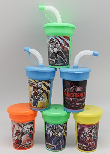 6 Power Rangers Stickers Birthday Sipper Cups with lids Party Favor - Rangers Power Diy