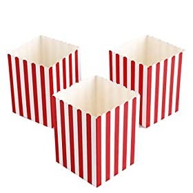 Mini Movie Popcorn Boxes – 100 Piece Red and White Mini Paper Popcorn Containers, Movie Night Party Supplies for Kids, Movie-Themed Parties, Carnival Parties, Pirate Party 3 x 3 x 4 Inches (100 Pack)