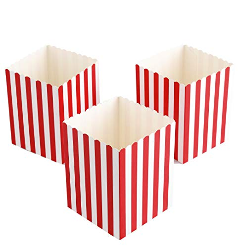 Mini Movie Popcorn Boxes - 100 Piece Red and White Mini Paper Popcorn Containers, Movie Night Party Supplies for Kids, Movie-Themed Parties, Carnival Parties, Pirate Party 3 x 3 x 4 Inches (100 Pack) -