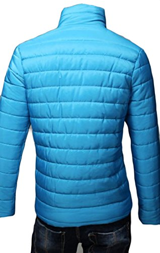 Slim Sleeve Lake Blue Solid Quilted Down AngelSpace Jacket Men's Warm Long Outwear IwEv71fq