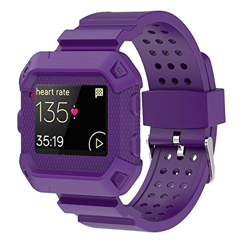 - Moretek Blaze Accessories Band, Case Impact Protection Resilient Strap Bands Ultimate Protection from Drops and impacts for Fitbit Blaze Smartwatch/Watch Sport Replacement Wristband (Purple)