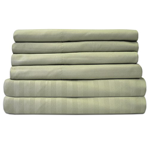 King Size Bed Sheets - 6 Piece 1500 Thread Count Fine Brushed Microfiber Deep Pocket King Sheet Set Bedding - 2 Extra Pillow Cases, Great Value, King, Dobby Sage
