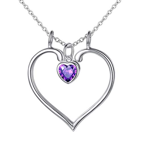 Jewelry Stone Mountain - S925 Sterling Silver Jewelry Open Heart with February Stone Necklace Ring Holder Necklaces Love Gift for Her, Wife, Girlfriend