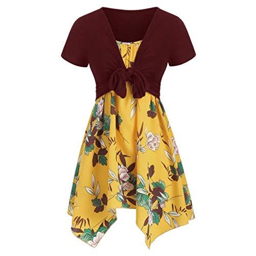 (Pongfunsy Women Dresses Casual Sunflower Print Mini Dress Short Sleeve Bow Knot Tops Beach Pleated Dress Suits (FBA) (XL, Wine 12) )