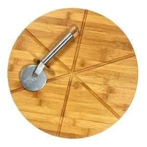 gourmet round wood bamboo pizza set cutting board cutter bar cutting. Black Bedroom Furniture Sets. Home Design Ideas