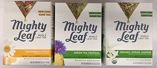 Mighty Leaf Tea Variety Pack (Pack of 3) 1-Mighty Leaf Tea Chamomile Citrus, 1-Mighty Leaf Tea Green Tea Tropical, 1-Mighty Leaf Tea Organic Spring Jasmine