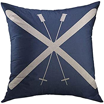 Mugod Decorative Throw Pillow Cover for Couch Sofa,Skiing Skis Navy Live Home Decor Pillow Case 18x18 Inch