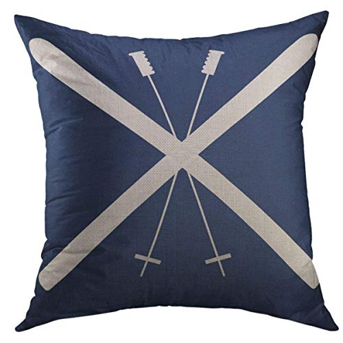 Mugod Decorative Throw Pillow Cover for Couch Sofa,Skiing Skis Navy Live Home Decor Pillow Case 18x18 Inch ()