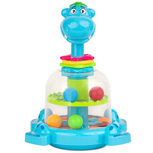 Toy To Enjoy Push & Spin Hippo Toy - Easy Press Button Ideal for Fine Motor Skill Development and Learning Activity - Great for Infants Toddlers 12 Months and Up - Happy Hippo Pull Toy