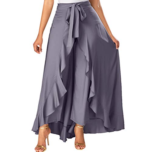 (Womens Grey Side Zipper Tie Front Overlay Pants Ruffle Skirt Bow Long Skirt)