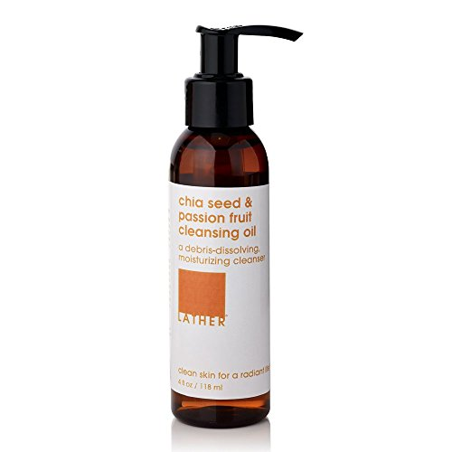 (LATHER Chia Seed & Passion Fruit Cleansing Oil 4 oz - plant-based, gentle cleanser dissolves and sweeps away makeup, dirt and impurities while nourishing, moisturizing and soothing skin)
