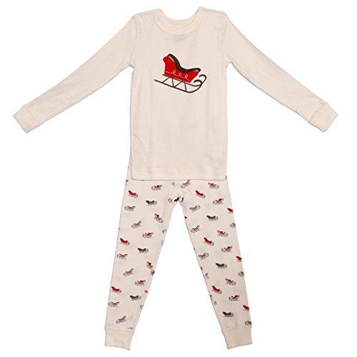 Kid's Long Sleeve Holiday Pajama Set - 100% Soft Organic Turkish Cotton- Unisex Boys/Girls – Red Santa Sled for Size 5 ()