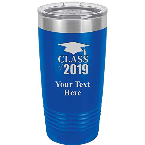 Class Of 2019 Tumbler Mug - 20 oz Royal Blue Personalized Stainless Steel Tumblers Custom Engraved With Clear Lid, Vacuum Insulated For Hot/Cold Beverages Prime