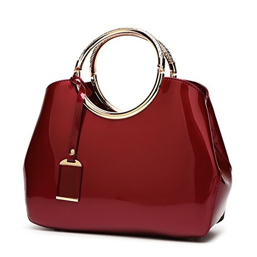 Shiny Patent (Hoxis Charm Glossy Metal Grip Structured Shoulder Handbag Womensh Satchel (Red))