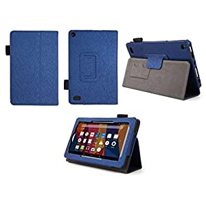 Case for Kindle Fire 7 Inch Tablet - Folio Case with Stand for Kindle Fire 7 Inch Tablet - (Imprint Blue)