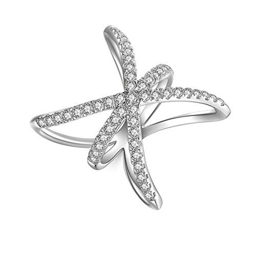 Aooaz Ring for Wedding Silver Material Ring Crossover Silver Gift Promise Ring US Size 5 ()