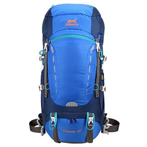 Eshow 40L Mochilas de Senderismo al Aire Libre de Nailon Impermeable Mochilas Montaña Mochila de Viaje Para Hombre y Mujer Color Verde Armado Azul