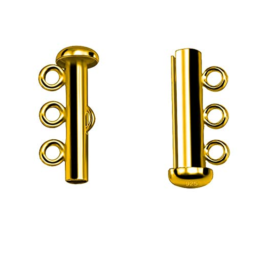 - Jewelry Accessories for Multi Strand Clasps Layered Necklace Bracelet Buckle 3-Hole Lock Jewelry Connectors (Gold)