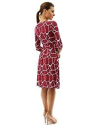 PattyBoutik Women\'s Faux Wrap A Line Dress (Deep Red and White M)