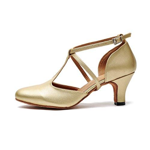 Minishion Femmes T-strap Salle De Bal Latin Salsa Chaussures De Danse Mariée Pompes De Mariage Or-6cm Talon