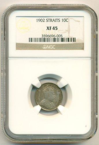 1902 MY Straits Settlements (Malaysia) - Edward VII Silver 10 Cents XF45 ()