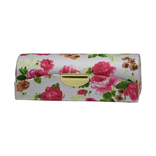 White Small Roses Ladies Lipstick Case with Mirror Purse Lip Stick Holder