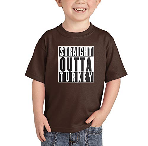 HAASE UNLIMITED Straight Outta Turkey - Thanksgiving Infant/Toddler Cotton Jersey T-Shirt (Brown, 5T)