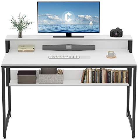 """Cubiker Computer Home Office Desk, 47"""" Small Desk Table with Storage Shelf and Bookshelf, Study Writing Table Modern Simple Style Space Saving Design, White"""
