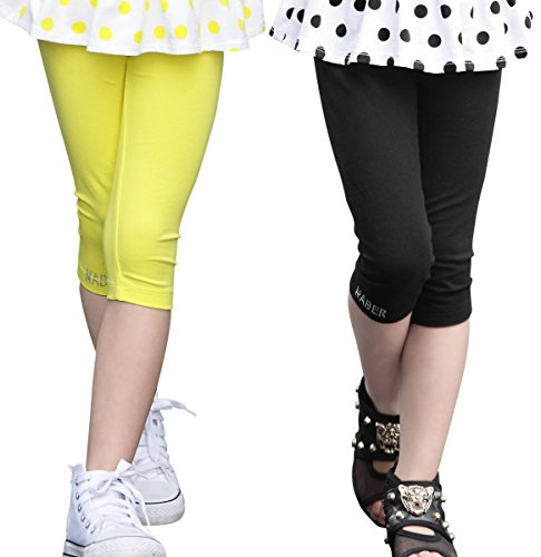 NABER Kids Girls' Lovely Candy Color 1/2/3 Piece Cotton Stretch Jersey Shorts Leggings Age 4-14 (9-10 Years, Yellow/Black) (Shorts Cotton Three Piece)