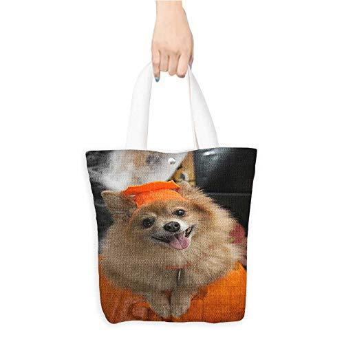 Custom Printed Grocery Tote Bag Halloween costume puppy Eco-Friendly Multi Purpose W11 x H11 x D3 -