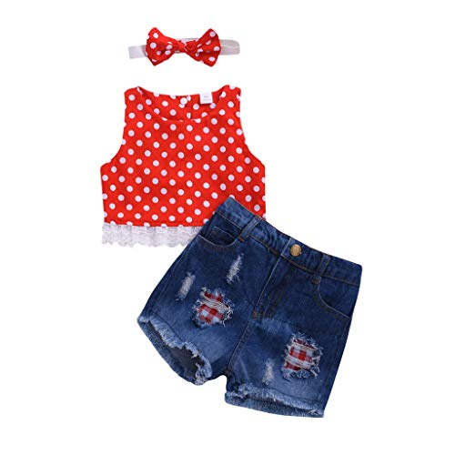 3Piece Toddler Infant Baby Girl Outfits Set,Sleeveless Polka Dot Lace T-Shirt Ripped Denim Shorts Jean Pants Headbands Suit]()