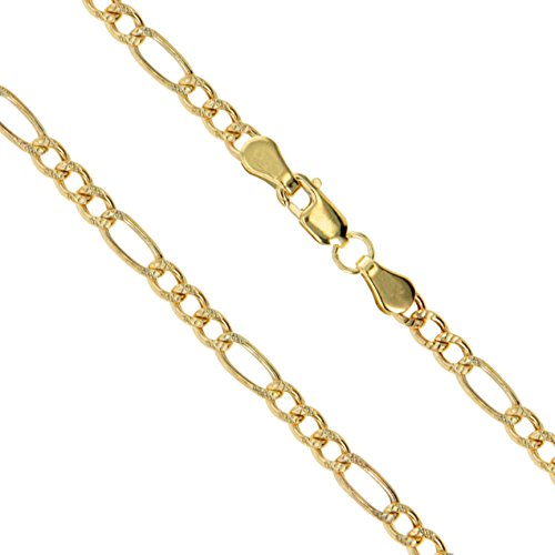 10k Yellow Gold-Hollow Pave Figaro Link Chain 1.9mm Necklace 20