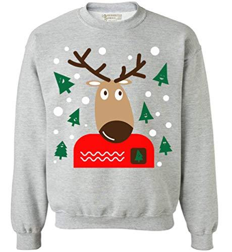 Awkward Styles Christmas Reindeer Sweatshirt Funny Xmas Ugly Christmas Sweater. Grey M