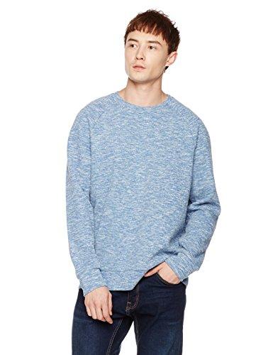 Something for Everyone Men's Texture Mix Raglan Crewneck Sweatshirt XL Blue (Raglan Crew Sweater)