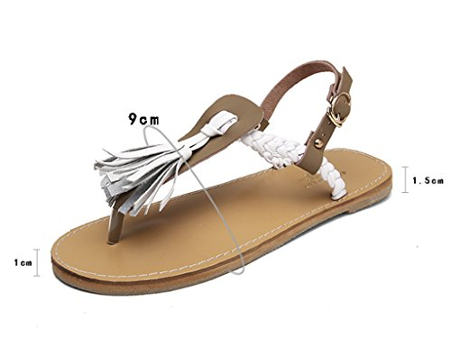 Sandals ZCJB Clip Toe Shoes Woman Summer Leather Flat Bottom Rome Women's Shoes Europe And America Leisure Student Beach Shoes (Color : White, Size : 35) Khaki