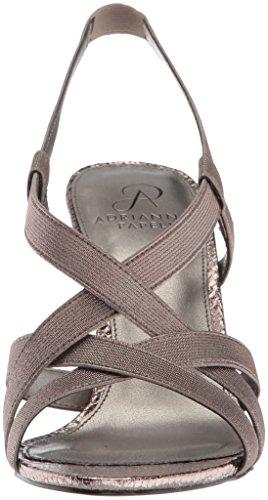 Elastic Addie Adrianna Sandal Heeled Papell Women's Gunmetal Metallic q0H0UFfw