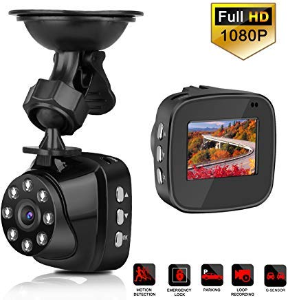 "GuanChi Mini Dash Cam Full HD 1080P, 140° Wide Angle, 1.5"" LCD Dash Camera for Cars with Built-in G-Sensor, Night Vision, Loop Recording, Parking Monitoring, WDR, Video Recorde(include 16GB TF Card)"