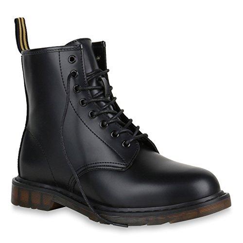 Stiefelparadies Damen Herren Unisex Worker Boots Profilsohle Leder-Optik Stiefeletten Blockabsatz Stiefel Schnürstiefeletten Übergrößen Flandell Schwarz Bernice